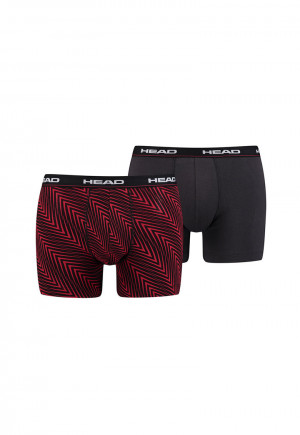 М.БОКСЕР HEAD HERRINGBONE PRINT BOXER 2 PAIRS/891005001-730 red/grey